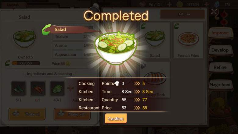 Daftar Lengkap Resep Food Fantasy (Light Kingdom, Sakurajima, Gloriville & Lost Recipe)
